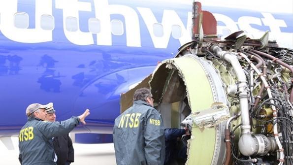 Southwest Airlines 737 after engine burst